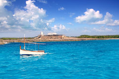 Little sailboat in formentera Stock Image