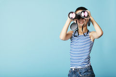 Little sailor with binoculars Royalty Free Stock Photos