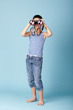 Little sailor with binoculars Stock Image