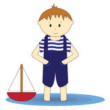 Little sailor - cute boy standing in the water. Illustration of little boy in blue standing in the water and playing with the ship Royalty Free Stock Image