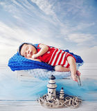 Little sailor during a short nap Stock Image