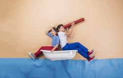 Little Sailors On The Sea Royalty Free Stock Photo