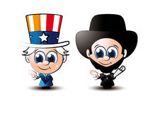 Little sam and abe. Cute little cartoon style uncle sam and abraham lincoln Stock Photos