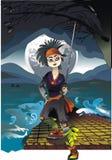 Little samurai. The arts illustration - japanese design Royalty Free Stock Photo