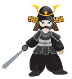 Little samurai. Japanese warrior samurai aikido fighter vector illustration
