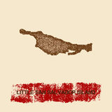 Little San Salvador Island distressed map. Grunge patriotic poster with textured island ink stamp and roller paint mark, vector illustration Stock Photo