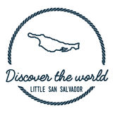 Little San Salvador Island Map Outline. Vintage Discover the World Rubber Stamp with Island Map. Hipster Style Nautical Insignia, with Round Rope Border Royalty Free Stock Photos