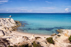 Little sandy beach between the rocks, in Sithonia, Stock Photos
