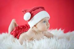 Little Santa. Cute baby in Santa hat Royalty Free Stock Photography