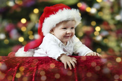 Little santa baby with christmas hat Stock Photography