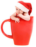 Little santa in the cap stock images