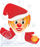 Little Santa with Christmas ball Royalty Free Stock Photography
