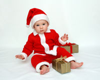 Little Santa Claus – First Christmas Royalty Free Stock Image