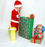 Little Santa Claus – First Christmas Royalty Free Stock Photos