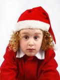 Little Santa Claus. With surprised face stock photos