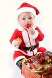 Little Santa Claus baby Stock Photography