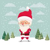 Little santa claus character in snowscape royalty free illustration
