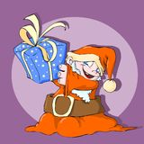 Little santa claus color. Little santa claus with a gift in color Vector Illustration