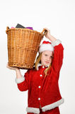 Little santa claus holding a basket Royalty Free Stock Photo