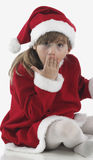 Little Santa Claus surprised Stock Photography