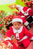 Little Santa with gifts Stock Photography