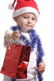 Little Santa with gifts Royalty Free Stock Photo