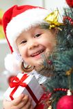 Little Santa girl Stock Photo