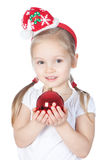 Little Santa girl with Christmas decoration Stock Image