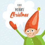 Little Santa helper wish you a Merry Christmas. Vector illustrated greeting card. Stock Images
