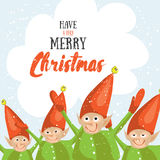 Little Santa helpers wish you a Merry Christmas. Vector illustrated greeting card.  Stock Photos