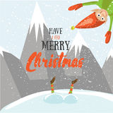 Little Santa helpers wish you a Merry Christmas. Vector illustrated greeting card.  Stock Images
