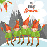 Little Santa helpers wish you a Merry Christmas. Vector illustrated greeting card. Decorative poster template with little elfs. Royalty Free Stock Photo
