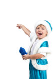 Little Santa points finger behind Royalty Free Stock Photography