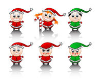 Little Santa's helpers smile set Royalty Free Stock Images