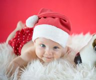 Little Santa with toy Royalty Free Stock Photo