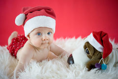 Little Santa with toy Royalty Free Stock Photography