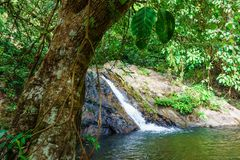 Little Sarika waterfall in small rock lake Stock Photography