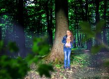 Little Scared Girl In The Forest Royalty Free Stock Images
