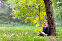 Little school boy under colorful autumn tree Royalty Free Stock Photos