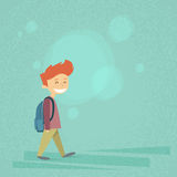 Little School Boy Walk, Carry Backpack Flat Royalty Free Stock Photography