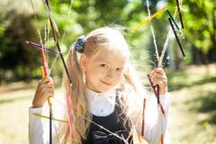 Little school girl. Back to school Royalty Free Stock Images