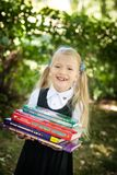 Little school girl. Back to school Stock Photo