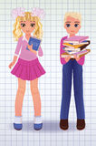 Little school girl and boy with books Royalty Free Stock Photo