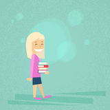 Little School Girl Carry Stack Of Books royalty free illustration