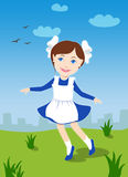 Little school girl learning to dance Stock Photo