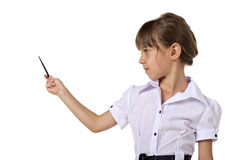 Little school girl with pointer Stock Image