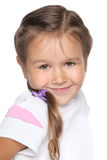 Little school girl. Portrait on white background Royalty Free Stock Photography