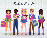 Little School girls and boys  friends, vector Stock Photo