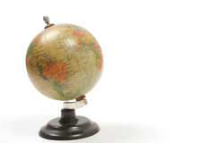 Little school globe. Old little school globe isolated on white background with lot of copy space Stock Photo