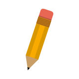 Little school pencil with eraser. Vector illustration Royalty Free Stock Photos